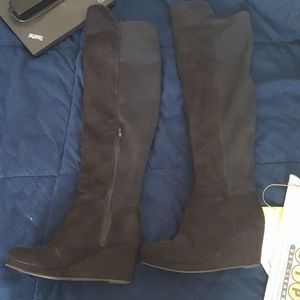 Barely worn knee high wedge boots
